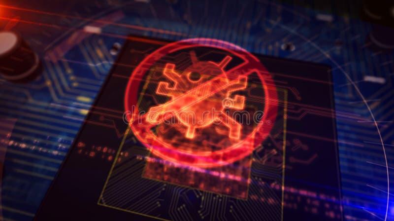 Processador central a bordo com exposi??o do holograma do antivirus ilustração royalty free