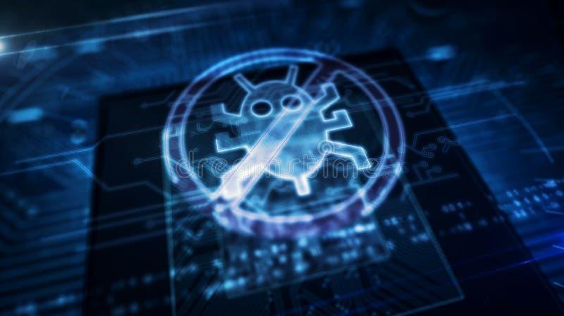 Processador central a bordo com exposi??o do holograma do antivirus ilustração stock