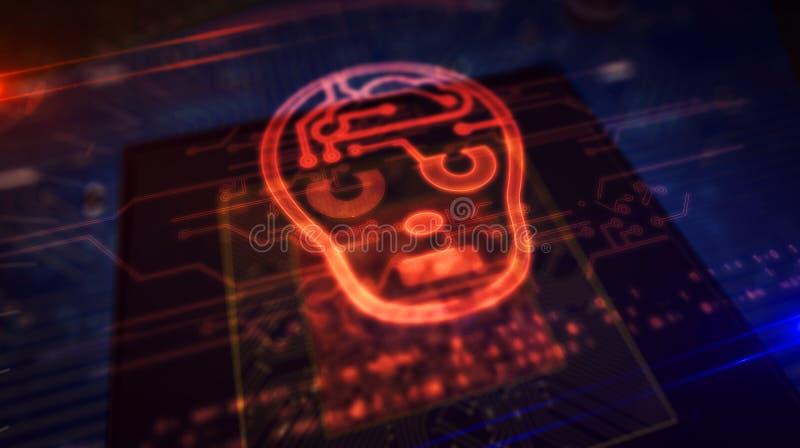 Processador central a bordo com exposi??o do holograma da forma da cabe?a do ai