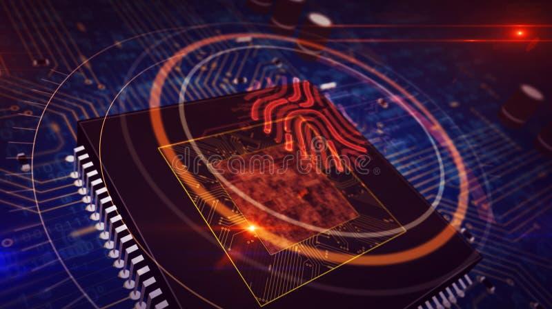 Processador central a bordo com exposi??o do holograma do s?mbolo da impress?o digital ilustração stock