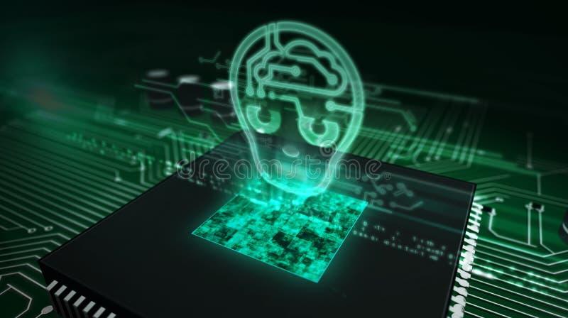 Processador central a bordo com holograma da cabe?a do ai
