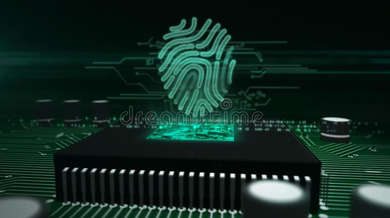 Processador central a bordo com holograma da impress?o digital ilustração royalty free