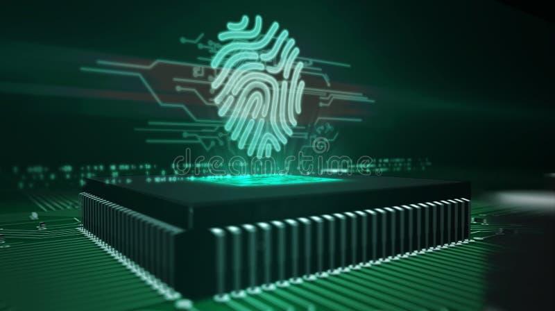 Processador central a bordo com holograma da impress?o digital ilustração do vetor