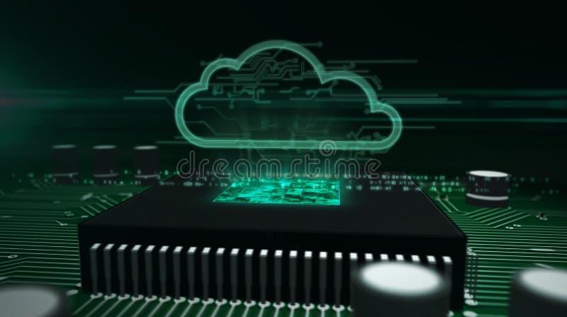 Processador central a bordo com holograma da nuvem ilustração royalty free