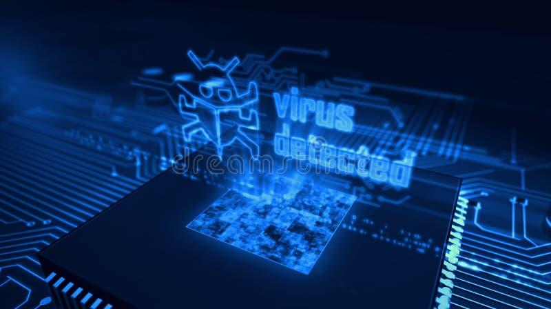 Processador central a bordo com holograma detectado v?rus ilustração stock