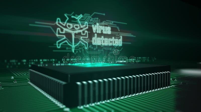 Processador central a bordo com holograma detectado v?rus ilustração do vetor
