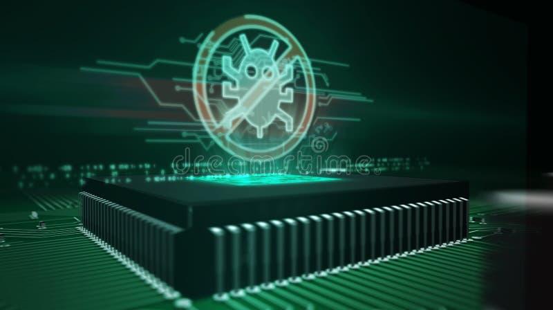 Processador central a bordo com holograma do antivirus imagens de stock