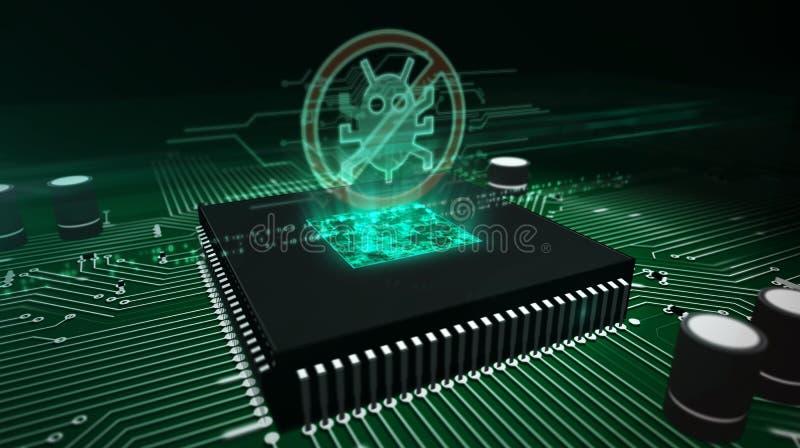 Processador central a bordo com holograma do antivirus fotografia de stock royalty free