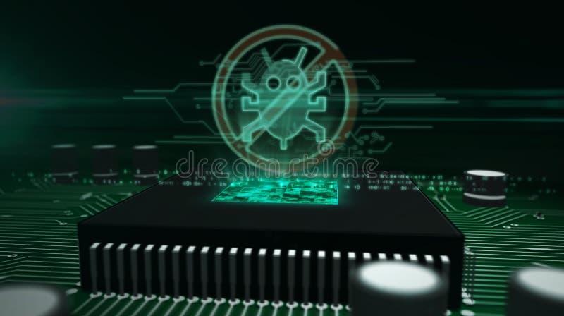 Processador central a bordo com holograma do antivirus imagens de stock royalty free