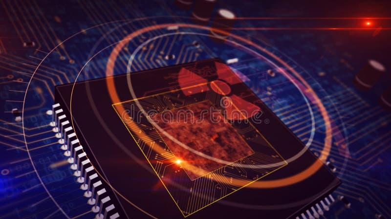 Processador central a bordo com holograma nucelar do s?mbolo do perigo ilustração stock
