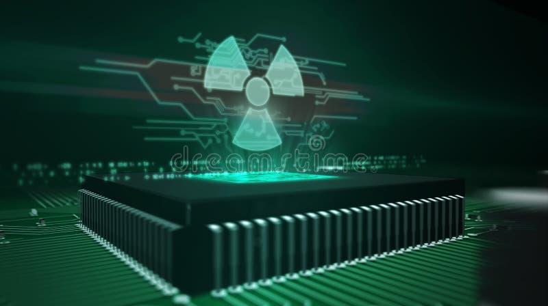 Processador central a bordo com holograma nucelar do s?mbolo do perigo ilustração royalty free