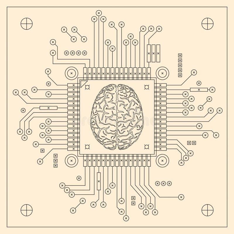 Processador central - cérebro do computador ilustração do vetor