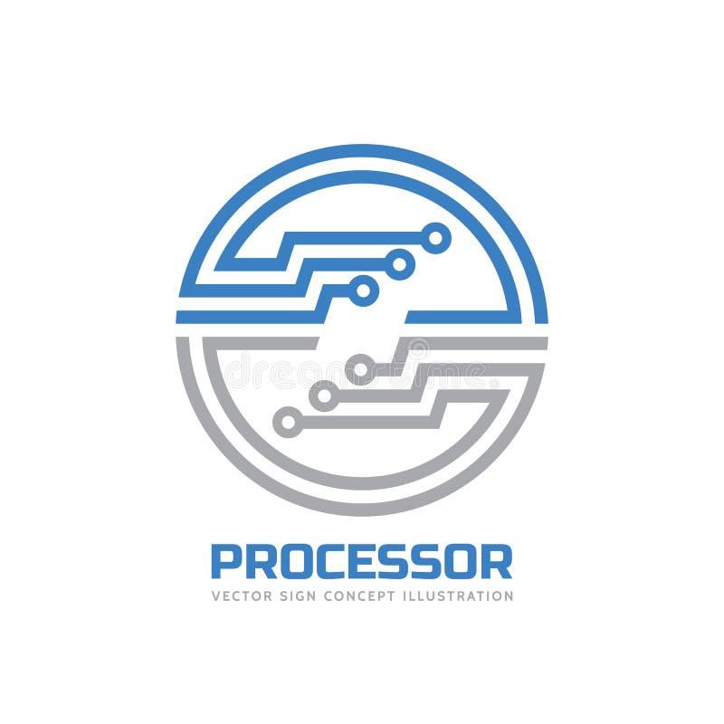 Processador central do processador - vector o molde do logotipo para a identidade corporativa Sinal abstrato do chip de computado ilustração do vetor