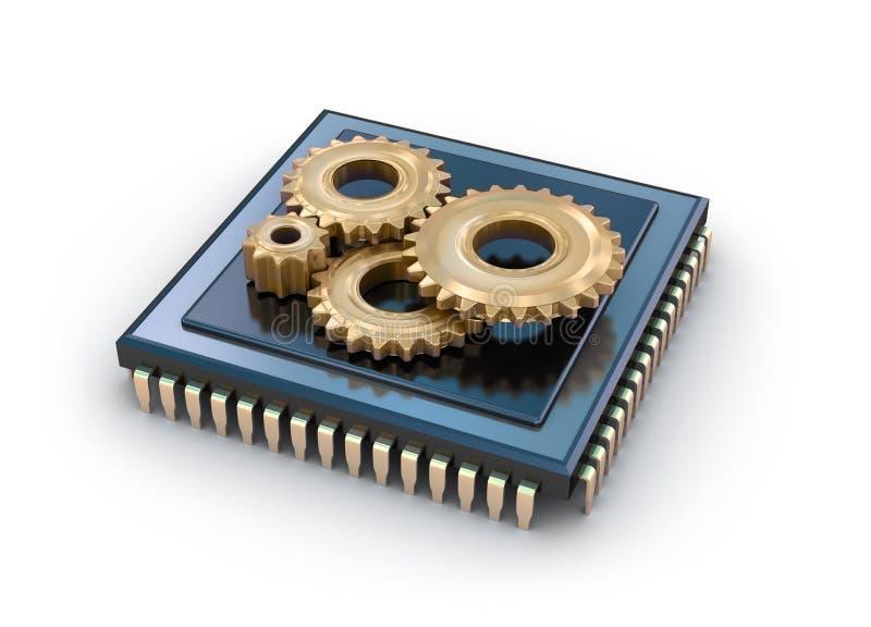 Processador central e engrenagens ilustração do vetor