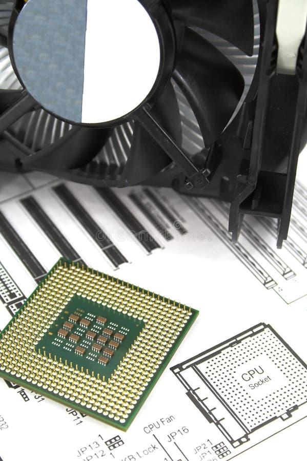 Processador central e refrigerador foto de stock