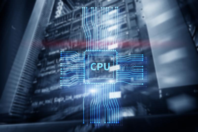 Processador central futurista de incandescência azul no centro do sistema informático ilustração do vetor