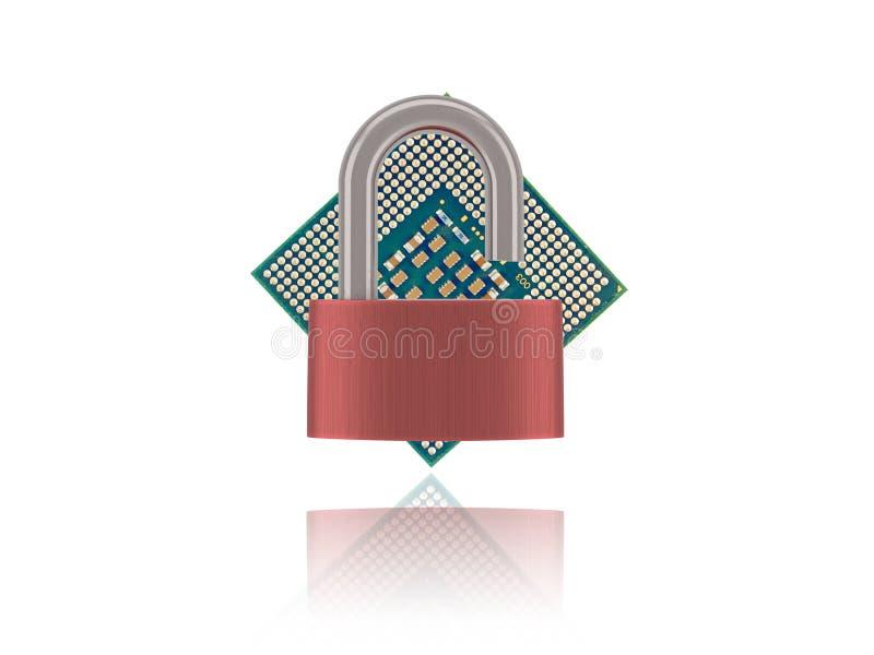 Processador Chip With Unlocked Padlock do computador fotografia de stock royalty free