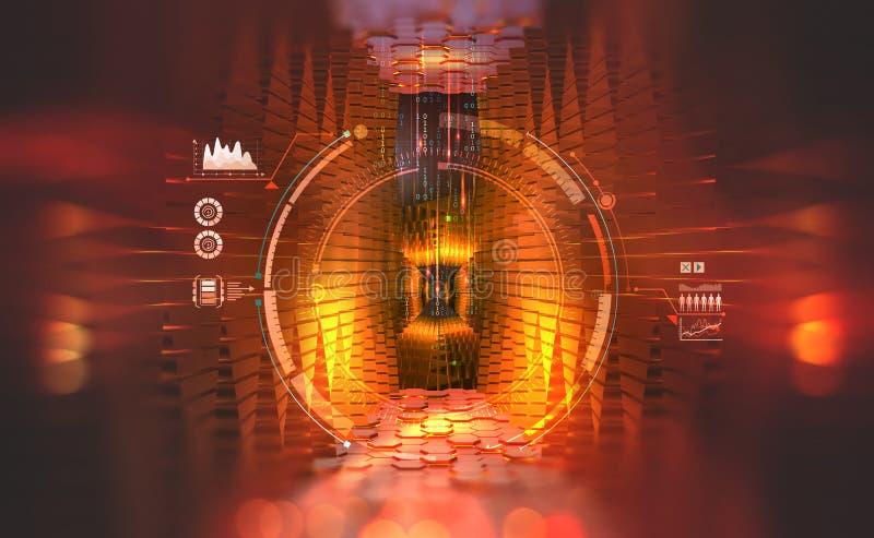 Processador global do futuro Computador do quantum e fluxos de informação Conceito de dados grandes em uma sociedade digital ilustração stock