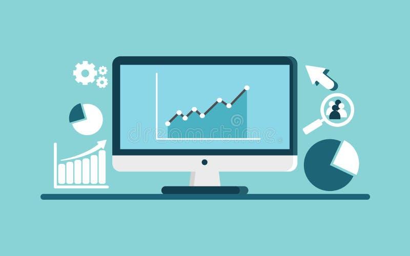 Processamento de informação Ilustração moderna do vetor do projeto liso, rendimento dados-conduzido, wi lisos do conceito do veto imagem de stock royalty free