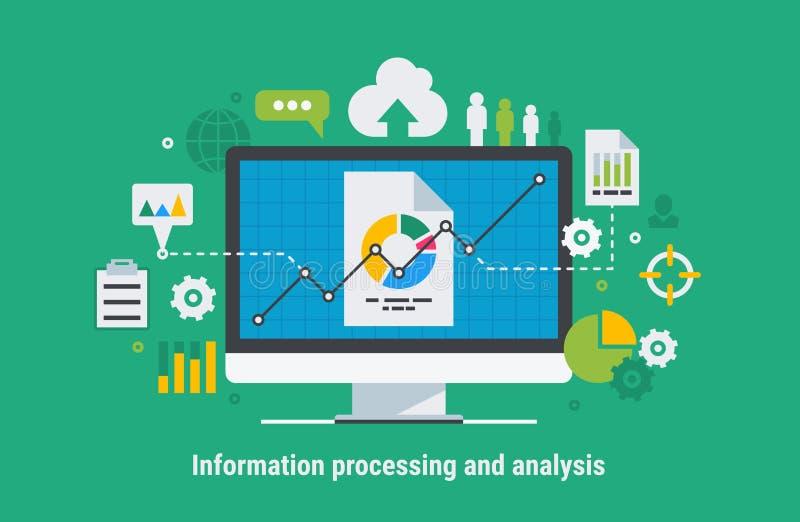 Processamento e análise de informação ilustração royalty free