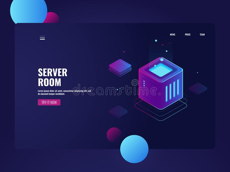 Processando dados grandes, datacenter da sala do servidor, serviço do armazenamento da nuvem, conexão de base de dados, tecnologi ilustração do vetor