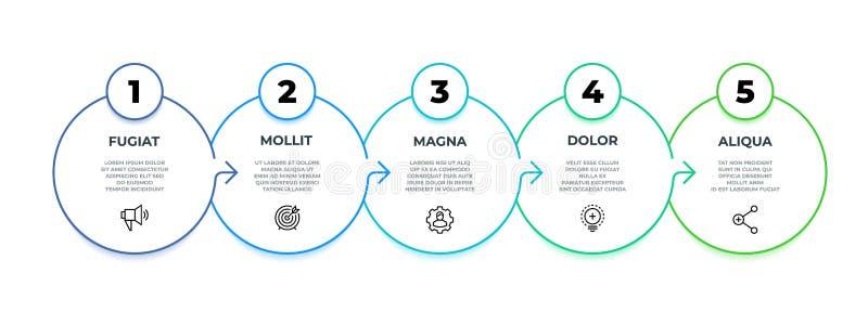 Processe o fluxo infographic diagrama gráfico de 5 etapas, linha molde do círculo da apresentação do negócio Opções do vetor 9 ilustração stock