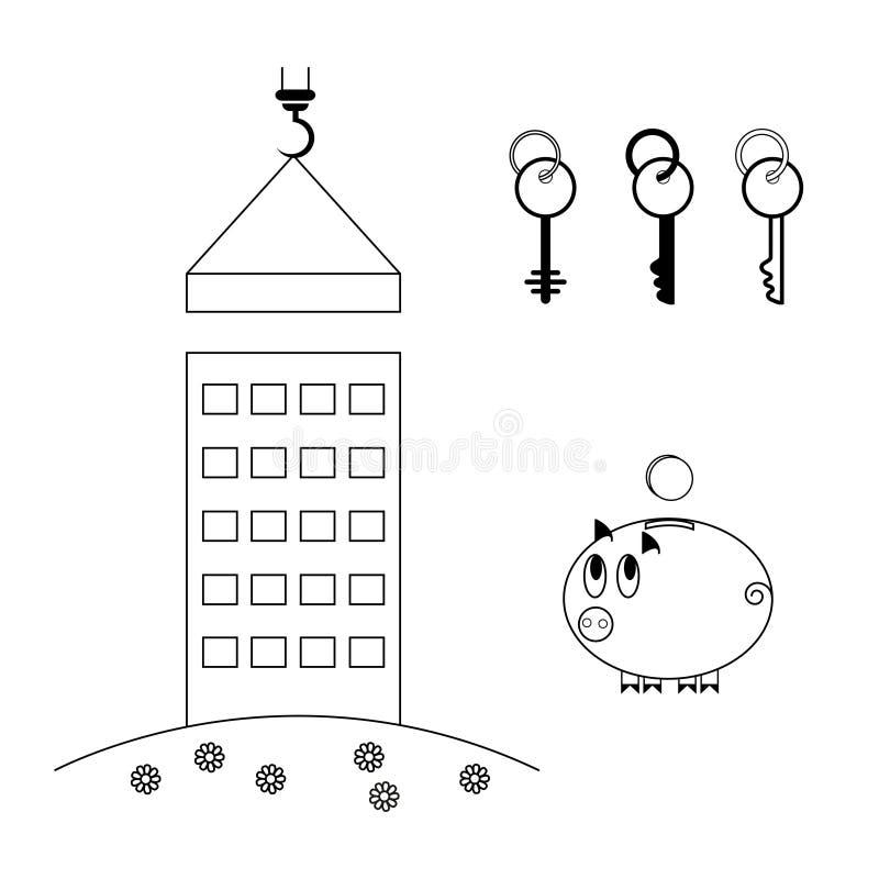 Processen av att bygga ett hus nytt byggande Köp av hus i en inteckna piggy gruppmynt En uppsättning av tangenter stock illustrationer