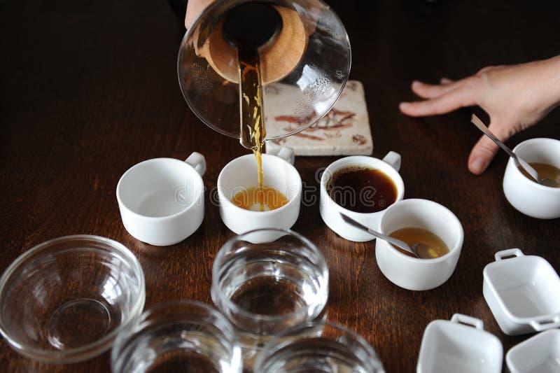Processen av att kupa för kaffe Kaffe hälls in i avsmakningkoppar royaltyfri foto