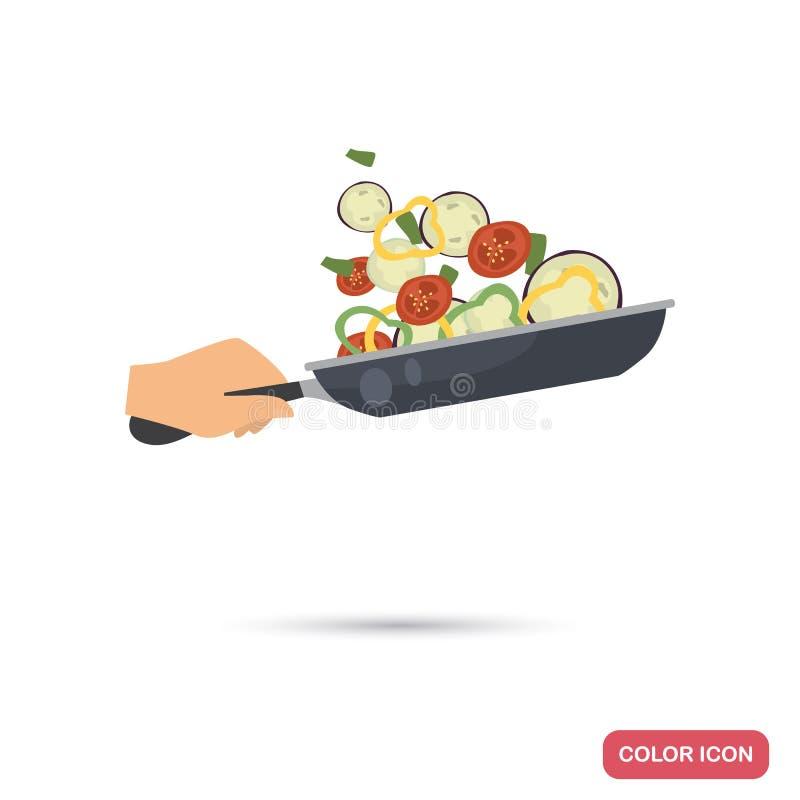 Processen av att steka grönsaker i en illustration för stekpannafärglägenhet vektor illustrationer