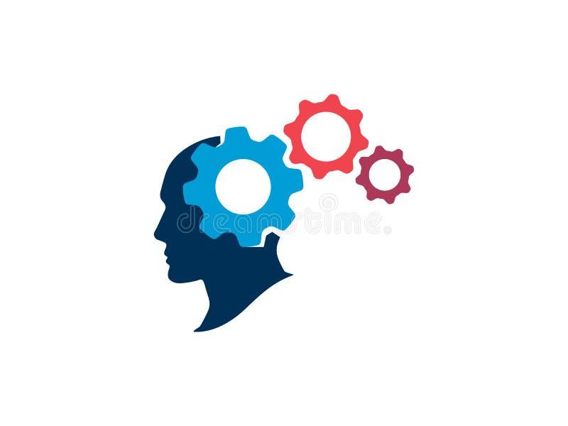Processen av att tänka i det mänskliga huvudet M?nskligt huvud f?r kontur med kugghjul Strategiskt t?nkande och planera begrepp v vektor illustrationer