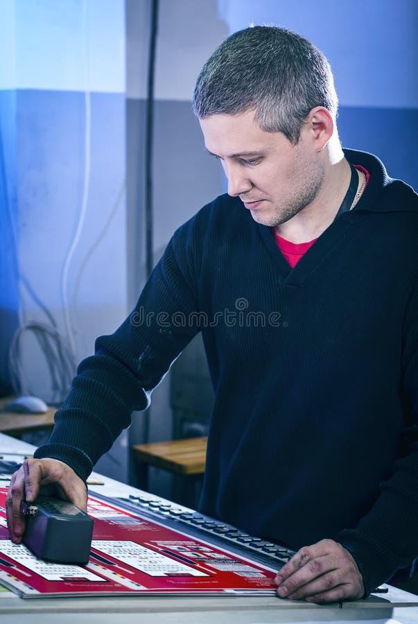 Processen av korrigeringen för offset- printing och färg arkivbild
