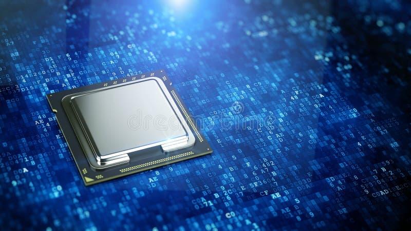 Processeur d'ordinateur central sur le fond numérique bleu de code - concept d'unité centrale de traitement illustration de vecteur