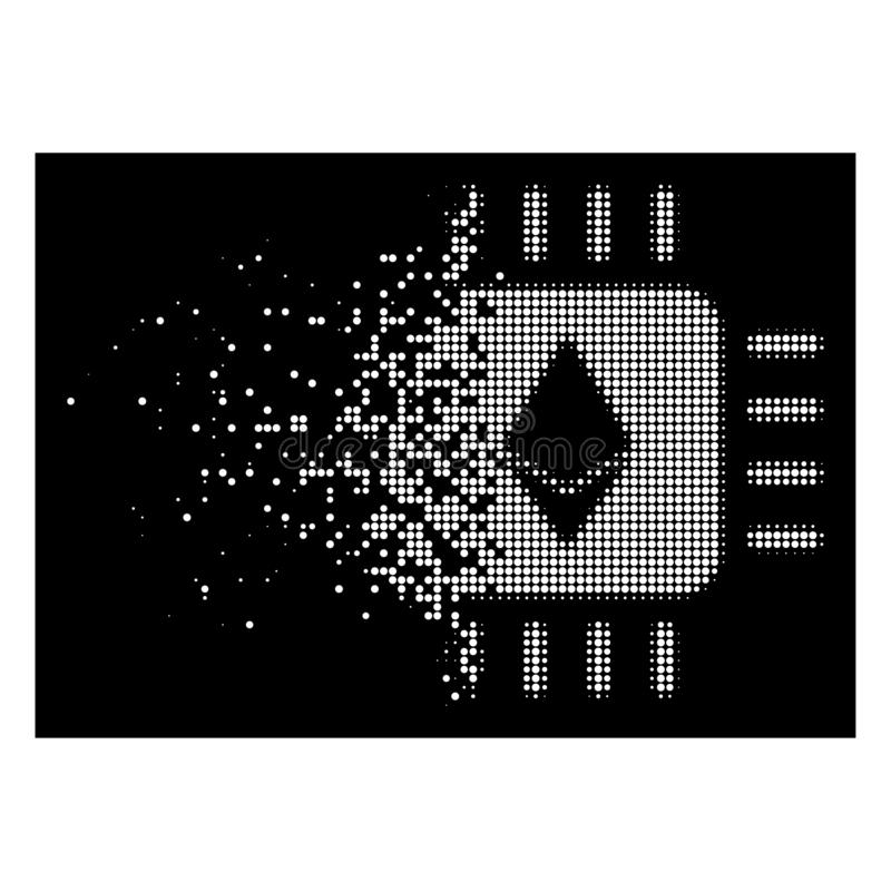 Processeur tramé pointillé dissous intelligent Chip Icon d'Ethereum illustration de vecteur