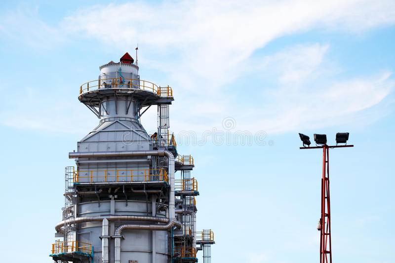 Processing column for offshore platform stock photo