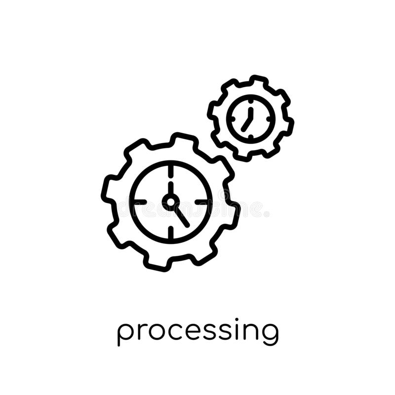 Processing icon. Trendy modern flat linear vector Processing ico stock illustration