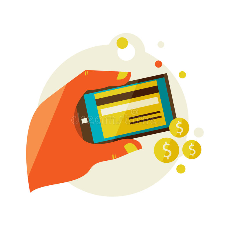Processing of mobile payments vector illustration