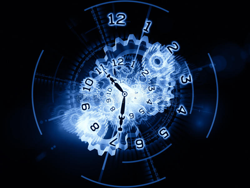 Processing of time. Backdrop composed of clock hands, gears, lights and numbers and suitable for use on time sensitive issues, deadlines, scheduling, temporal vector illustration