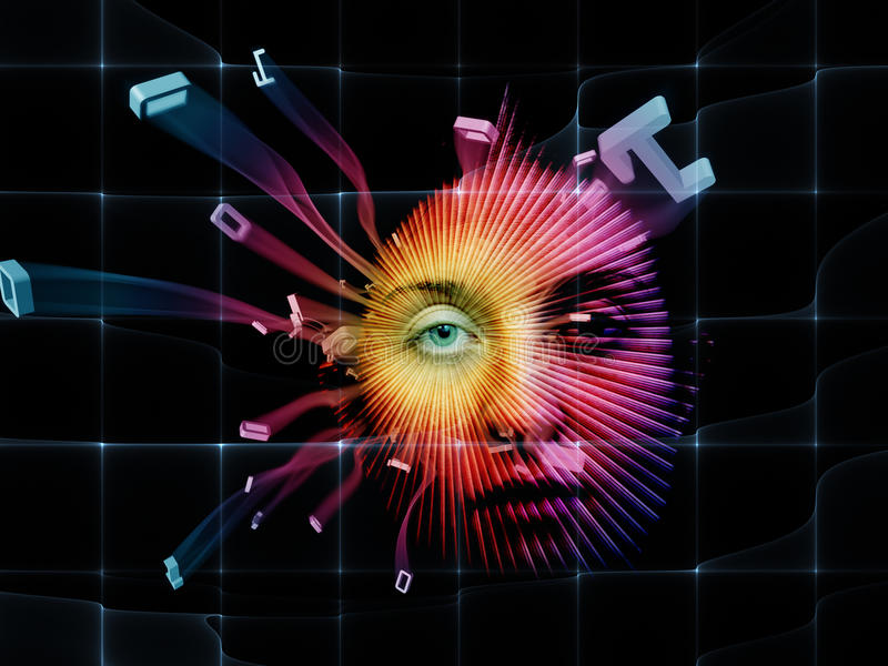 Processing World of Numbers. Digital Vision series. Design composed of eye part of female face and integers as a metaphor on the subject of virtual technology vector illustration