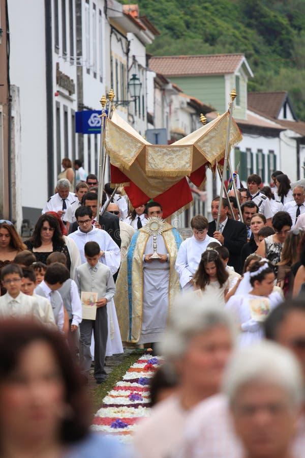 Procession. Pico island Azores - june 23 2011 - Corpo de Deus catholic procession stock photos