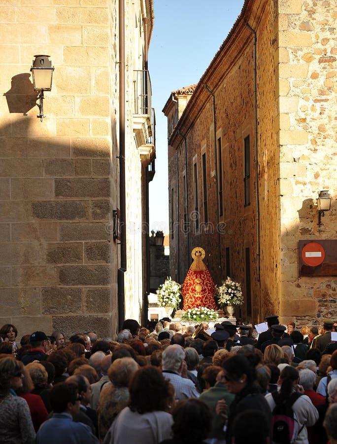 Procession av oskulden av berget, Caceres, Extremadura, Spanien arkivfoto