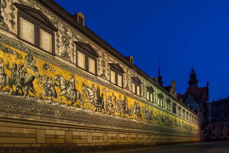 The Procession of the Dukes in Dresden, Germany. The capital of the Free State of Saxony in Germany, Dresden is situated in the valley on the river Elbe. It was stock image