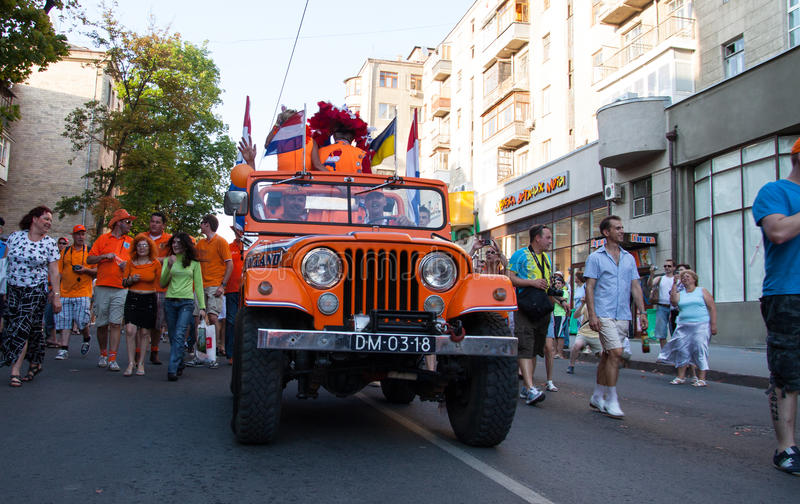 Procession Of Dutch Fans Editorial Image