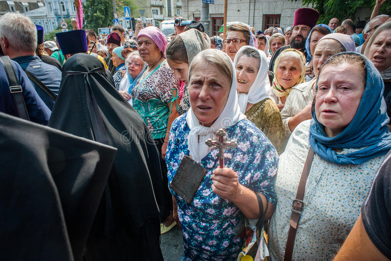 Procession för fred i Kyiv arkivfoto