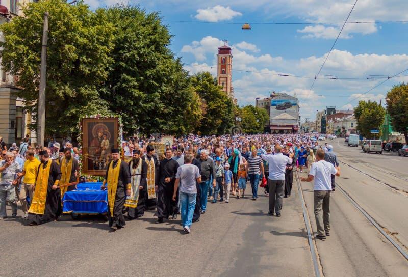 Procession för fred ukraine Kharkiv Juli 10, 2016 arkivbilder