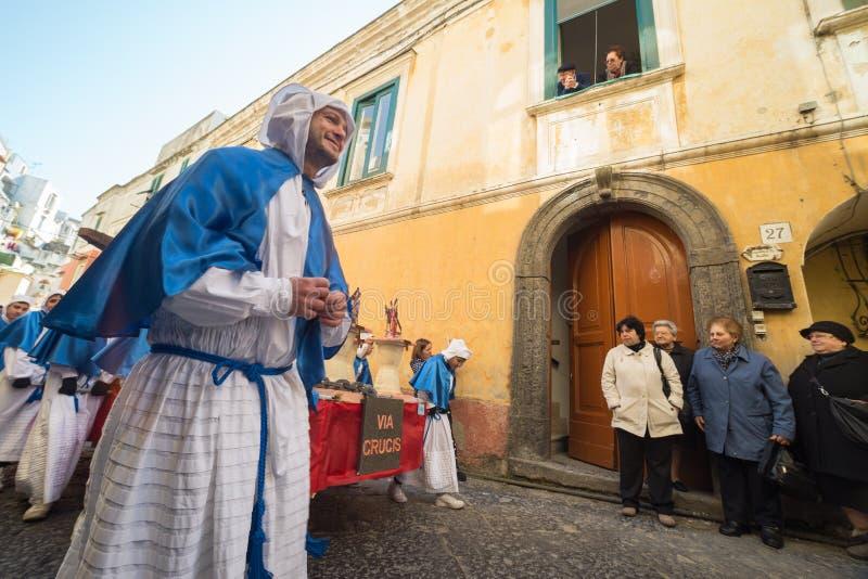 Procession för PROCIDA-PÅSKlångfredag fotografering för bildbyråer