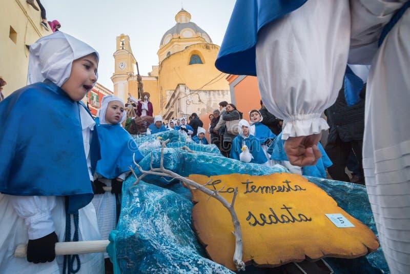 Procession för PROCIDA-PÅSKlångfredag royaltyfri foto
