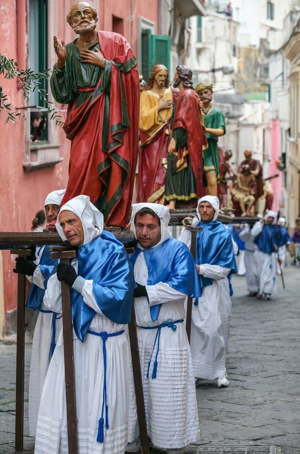 Procession för PROCIDA-PÅSKlångfredag royaltyfria foton