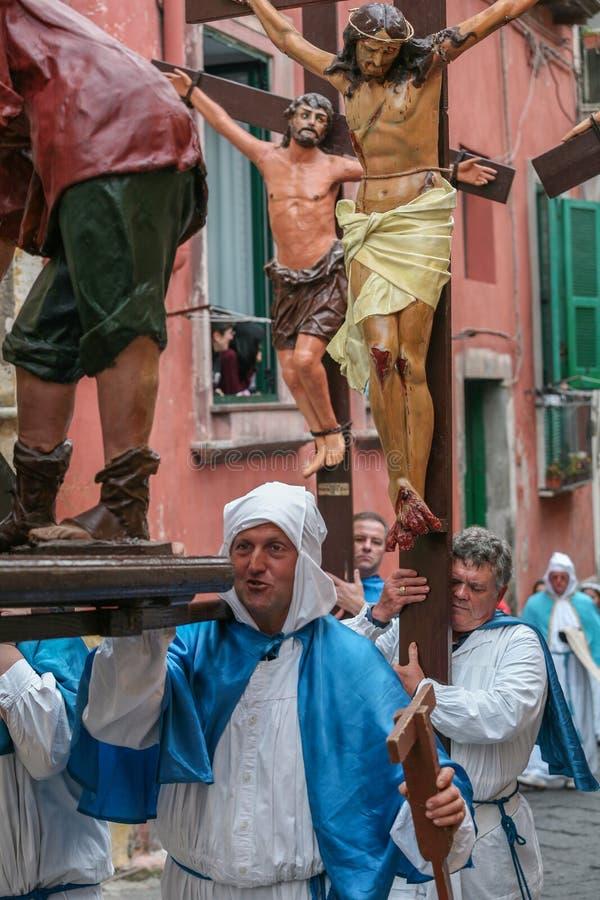 Procession för PROCIDA-PÅSKlångfredag royaltyfria bilder