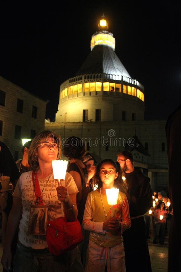 Procession goes through the streets of Nazareth. Every Friday procession goes through the streets of Nazareth, from the Church of St. Joseph to the Basilica of royalty free stock image
