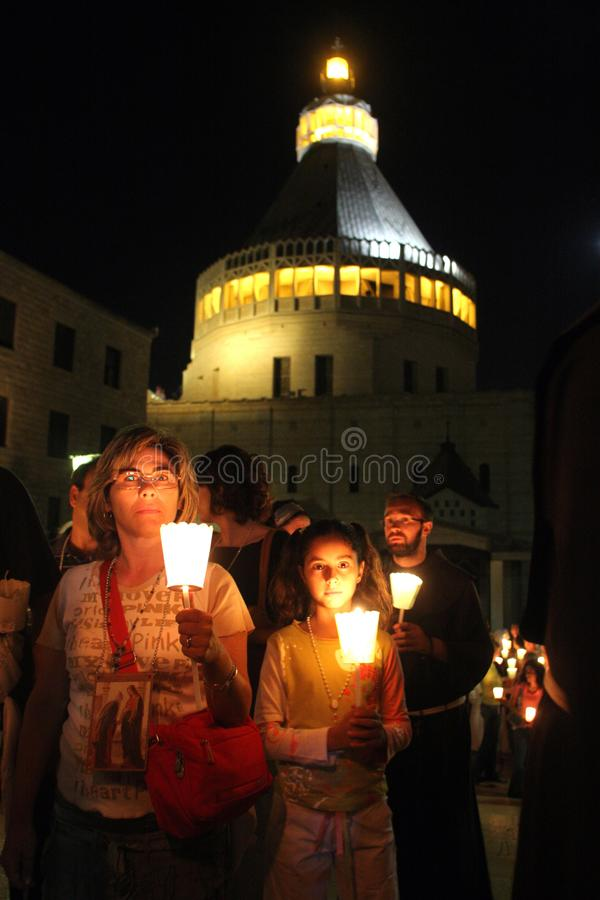 Procession goes through the streets of Nazareth stock photos